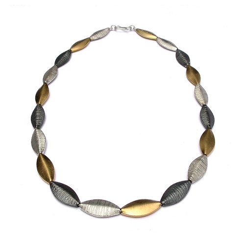 Duotex Flat Pod Necklace with gilded elements