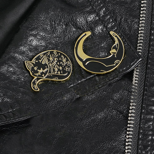 Witch Cat Pins Black Cat Pentagram Moon and Star Witchy Lapel Pins