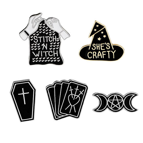 Witch Enamel Pins Black Wizard Hat Moon Star Tarot Coffin