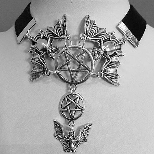 Witch Vampire Bat Witch Pentagram Choker Necklace