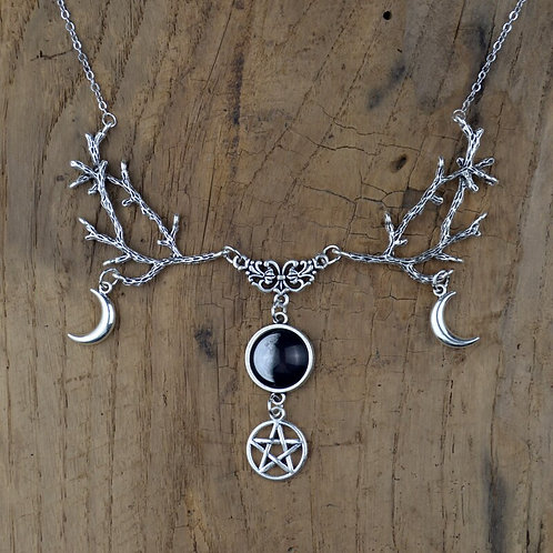 Galaxy Space Crescent Moon Witch  Pentagram Necklace Pagan Wiccan Magic Jewelry