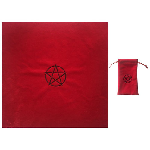 Pentagram Tarot Tablecloth With Bag Velvet Altar Tarot Cloth Pentacles Tarot