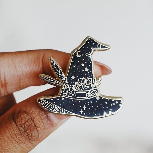 Witch Hat Hard Enamel Pin (Black and Gold),