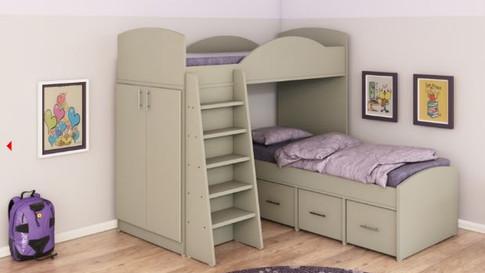 двухъярусная кровать со встроенным шкафом модель 256А