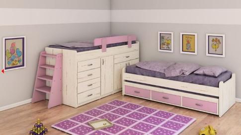 Двухъярусная кровать буквой г  модель 377