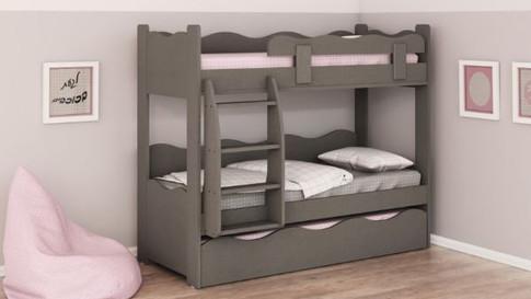 2 ярусная кровать детская модель галь (волна)