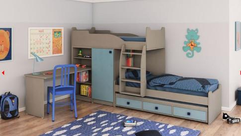 детская двухъярусная кровать со шкафом и столом Халомит 3