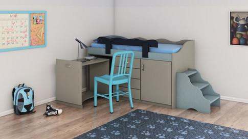 Двухъярусная кровать с выдвижным столом модель 247