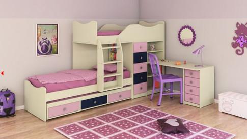 детская двухъярусная кровать со столом и шкафом внизу модель халомит 1