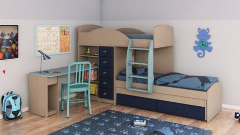 детская двухъярусная кровать со столом и шкафом внизу Халомит 1
