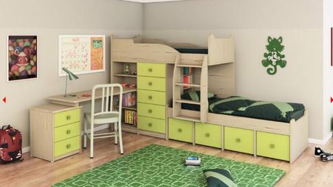 детская двухъярусная кровать со шкафом и столом Халомит 4