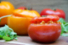 Mediterranean stuffed beefsteak tomatoes