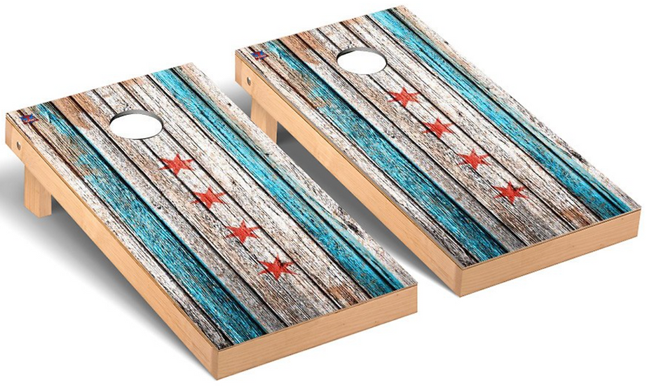 Chicago Flag Weathered Flag Bag Toss Game