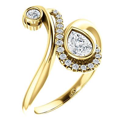 14K Yellow Gold 1/2 CTW Diamond Bezel Set Bypass Ring