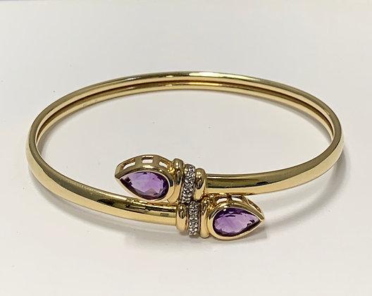 Yellow Gold Amethyst & Diamond Bypass Bracelet