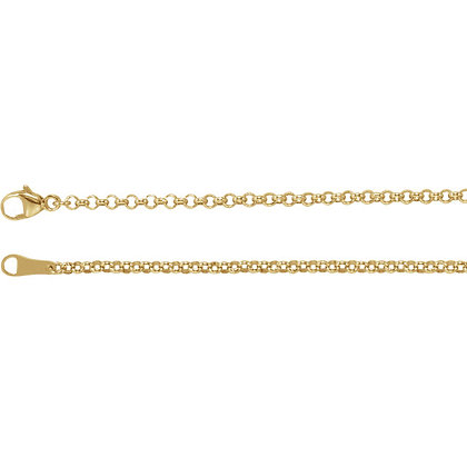 """18K Gold 2.4mm Rolo 16"""" Chain"""
