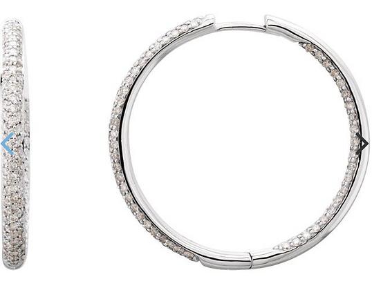 18K White 1 1/2 CTW Pave' Diamond Inside-Outside Hinged 28 mm Hoop Earrings
