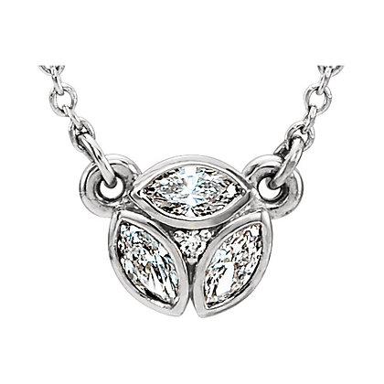 "14K Gold 3-Stone Marquise Diamond 16-18"" Necklace"