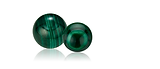 Malachite is a vivid, bluish green to green and is used as jewelry beads, inlay, and carvings.