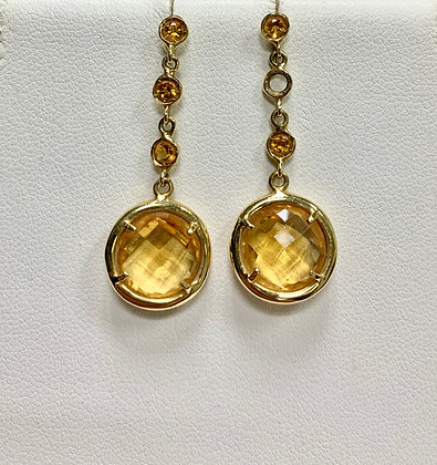 Yellow Gold Citrine Dangle Earrings