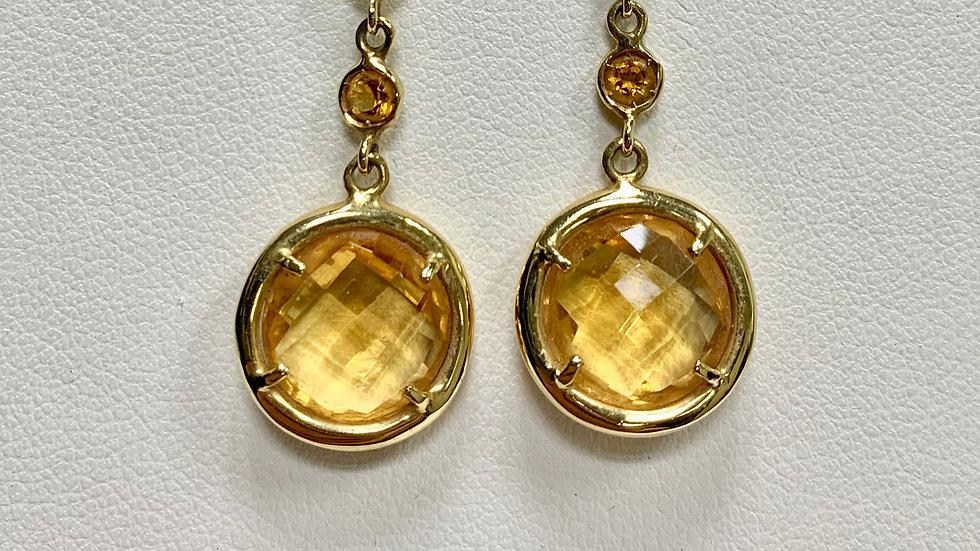 Yellow Gold Citrine Dangle Earrings
