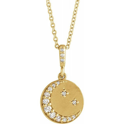 "14K Yellow Gold 1/10 CTW Diamond Crescent Moon Disc 16-18"" Necklace"