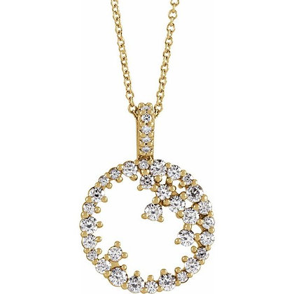 """14K Yellow 3/4 CTW Diamond Scattered Circle 16-18"""" Necklace"""