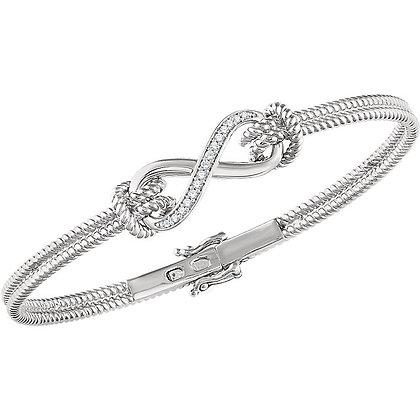"14K White Gold 1/8 CTW Diamond Bangle 7.5"" Bracelet"
