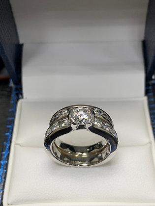White Gold Diamond & Wedding Band Set