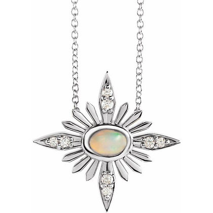 "14K White Gold Ethiopian Opal & .08 CTW Diamond Celestial 16-18"" Necklace"