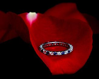 White Gold Sapphire & Diamond Wedding Band