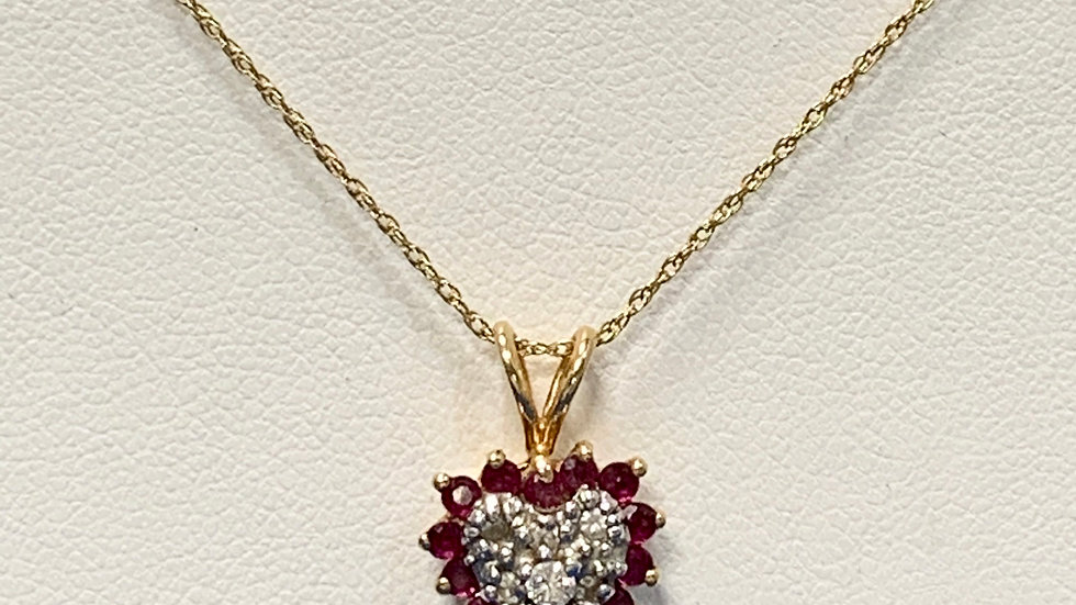 Yellow Gold Ruby & Diamond Necklace