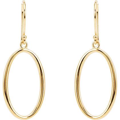 14K Yellow Gold Oval Dangle Earrings