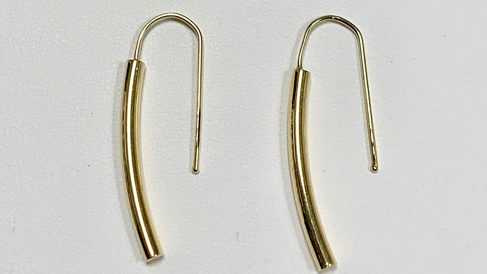 Yellow Gold Curved Bar Earrings