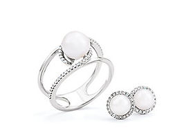 White Gold Pearl & Diamond Ring - Matching Earrings
