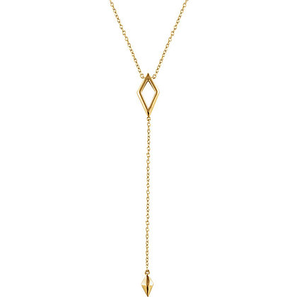 """14K Yellow Gold Geometric Y 16-18"""" Necklace"""
