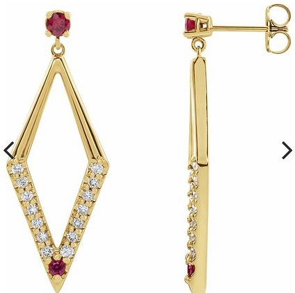14K Yellow Ruby & 1/2 CTW Diamond Geometric Earrings