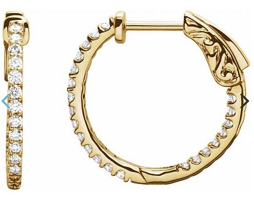 14K Yellow Gold 1/2 CTW Diamond Inside-Outside 19 mm Hoop Earrings
