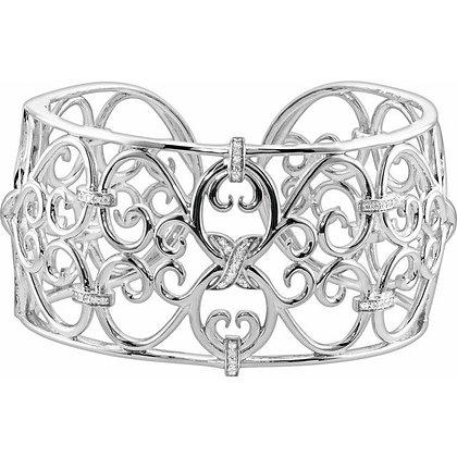 Sterling Silver Diamond Filigree Scroll Cuff Bracelet