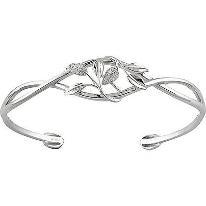 14K White Gold .05 CTW Diamond Leaf Design Cuff Bracelet