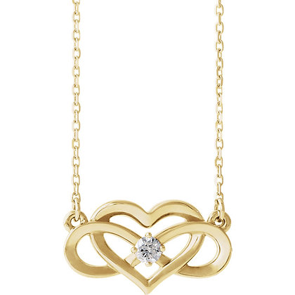 14K Yellow Gold 1/10 CTW Diamond Infinity-Inspired Heart Necklace