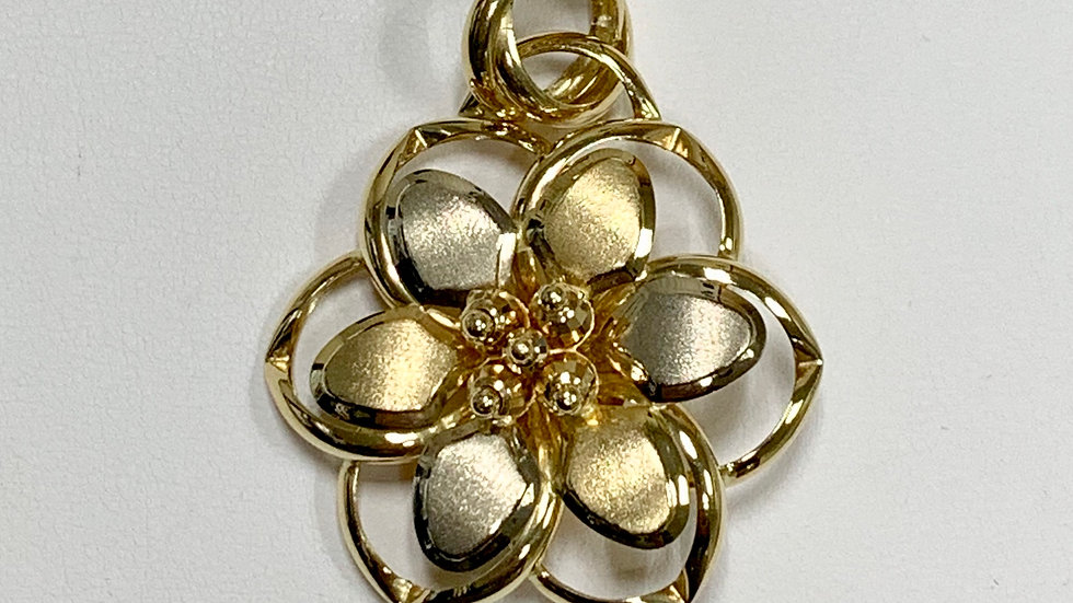 Yellow & White Gold Floral Pendant