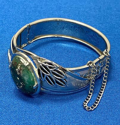Sterling Silver Green Turquoise Bangle Bracelet