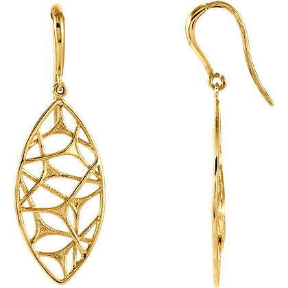 14K Yellow Gold Web Design Dangle Earrings