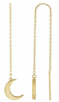 14K Yellow Gold Crescent Chain Earrings