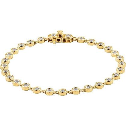 "14K Yellow Gold 2 CTW Diamond Bezel Line 7"" Bracelet"