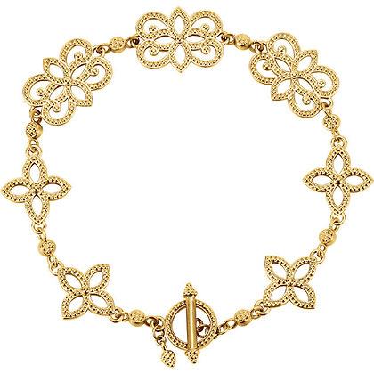 "14K Yellow Gold Granulated Metal Fashion 7.75"" Bracelet"
