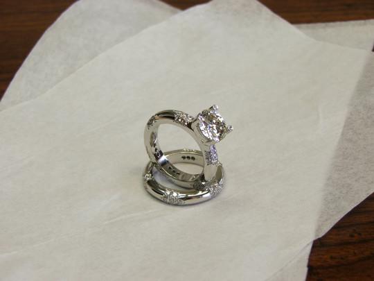 Matching Platinum Diamond Engagement Ring & Wedding Band
