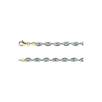 "14K Yellow Gold Sky Blue Topaz 7.25"" Bracelet"