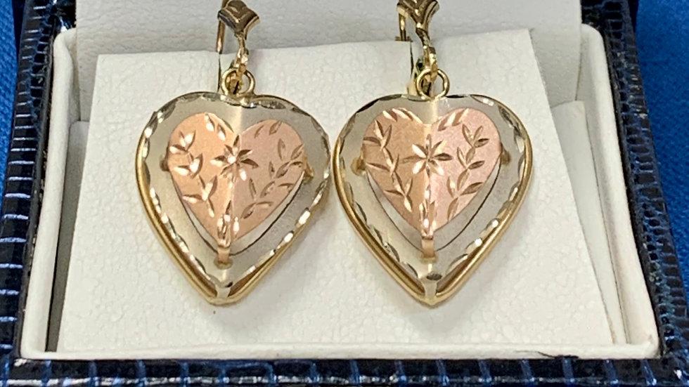 Tri-Color Gold Dangle Earrings